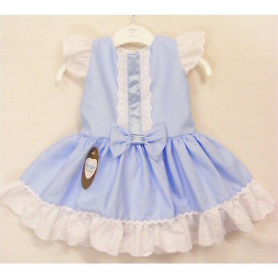 Baby & Girls Spanish Style Sky Blue Waffle Bow Dress 18-24 Mth 2-3 Years