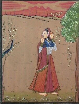 "11"" x 7"" Antique  Mughal Lady Scene Matted Painting Old Urdu Leaf Paper 495"
