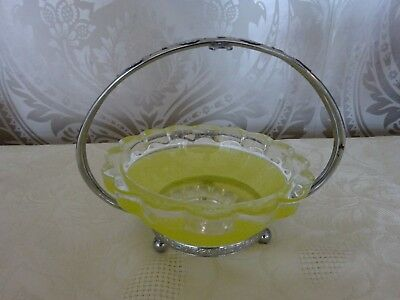 Vintage retro Frosted Yellow Glass Sugar Bowl On Chrome Stand Shabby Chic