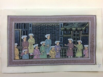 "7"" x 11"" Antique Mughal court Scene Matted Painting Old Leaf Paper 497"