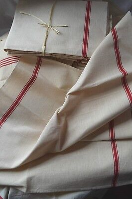 An unused classic French red striped torchon