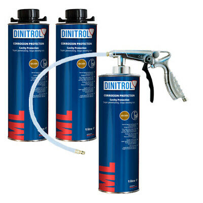 3 x DINITROL ML3125 RUST PROOFING CAVITY WAX 1LITRE + SPRAY GUN BOX SECTION DOOR