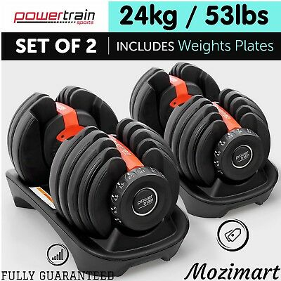 Powertrain Adjustable Dumbbells Set 48 kg. @FULLY GUARANTEED@. For Home & Gym.