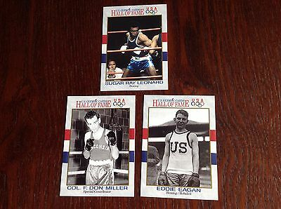 3 Trading Cards From US Olympic Hall Of Fame Boxing Including Sugar Ray Leonard