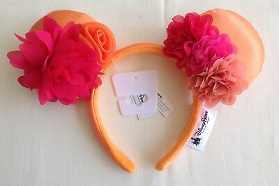 Disney Parks Minnie Mouse Orange Multi color Ruffle Flower Headband Mickey Ears