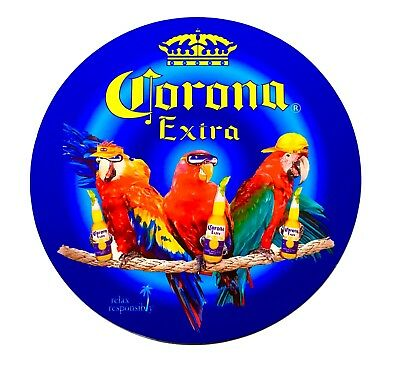 "Corona Sign  - 3 Whimsical Parrots Enjoying Corona - 24"" Diameter Sign"