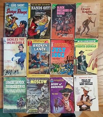 Vintage Western Paperbacks Lot of 12 Ace and Dell Great Cover Art