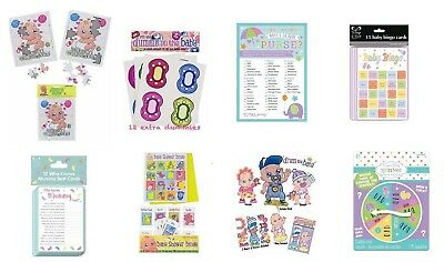 ** Various Baby Shower Party Games Jigsaws Bingo Cards Pin The Dummy Dress Baby
