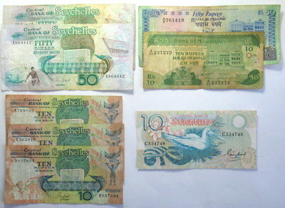 Assorted Banknotes from Seychelles and Mauritius #KTZ