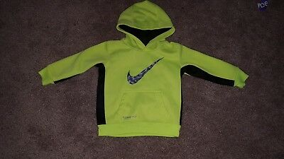Nike boys lime green thermafit hoodie size 18 months