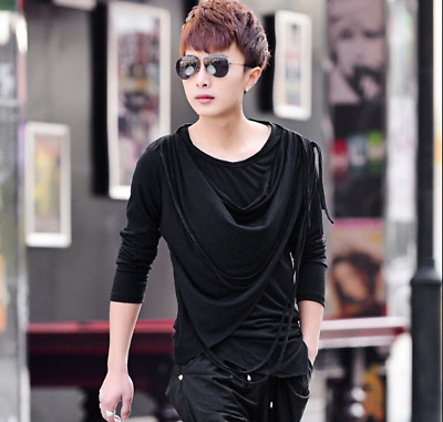 Mens Slim Fit Long Sleeve T-shirts Korean Crew Neck Casual T-shirts Loose fit C8