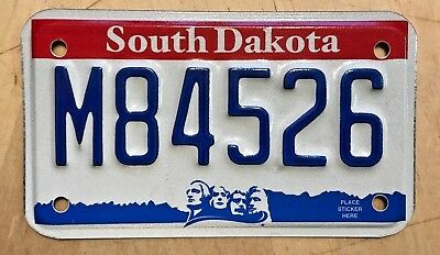 "South Dakota Motorcycle Cycle License Plate "" M 84526 ""  Sd Mt. Rushmore Graphic"