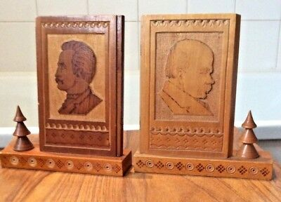 vintage pair of USSR carved wooden mantle pictures Lenin & Stalin ~ 17 cm tall