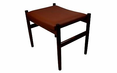 Danish mid century rosewood ottoman by Spøttrup, brown aniline leather, stamped