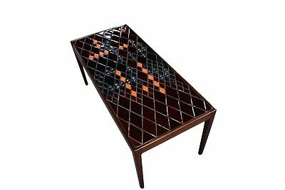 Danish mid century rosewood coffee table with decorative tiles by Bjørn Wiinblad