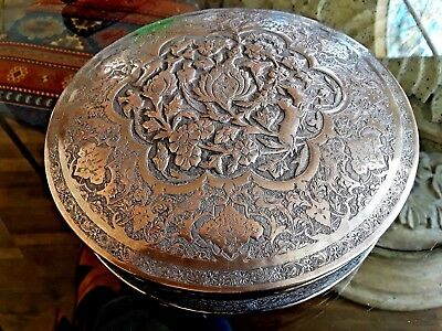 Beautiful Persian Isfahan Esfahan Solid Silver  Round Box Container