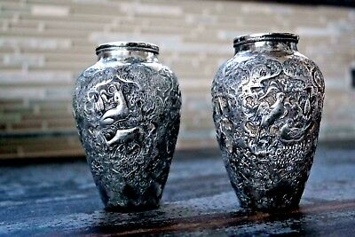 A Pair Of Antique Persian Solid Silver Vase By Master  Hosein Parvaresh