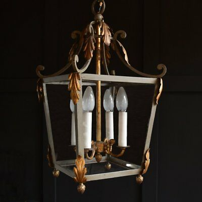 French Painted wrought Iron and Gilded Hall Lantern. Circa 1920