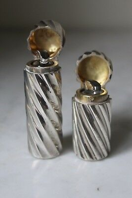 Two Antique Spiral Twist Silver Sampson Mordan Scent Bottles 1889/99