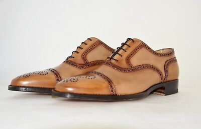 MAN-8½eu-9½us-OXFORD CAPTOE-TAN CALF-VITELLO COL. CUOIO-LEATHER SOLE-SUOLA CUOIO