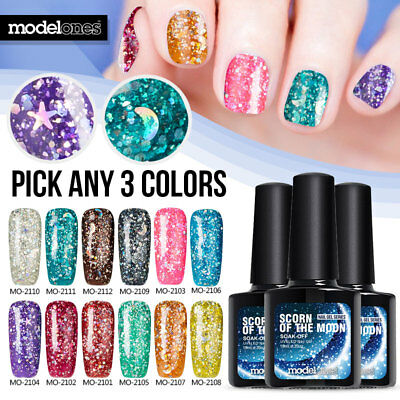 Modelones 12 Color Nail Art Gel Glitter Polish Soak-off UV Manicure Varnish 10ml
