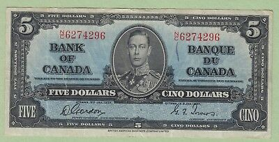1937 Bank of Canada 5 Dollar Note - Gordon/Towers - N/C6274296 - VF (Penmark)