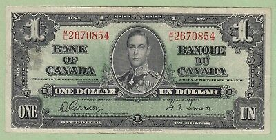 1937 Bank of Canada One Dollar Note - Gordon/Towers - M/L2670854 - VF