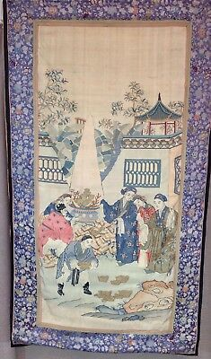 Antique CHINESE Woven Gold Thread Stitched Panel SILK Court Wall Hanging TEXTILE