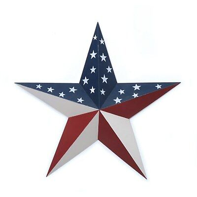 """RED WHITE & BLUE Americana PATRIOTIC Metal Tin BARN STAR Country Rustic 18"""" FLAG"""