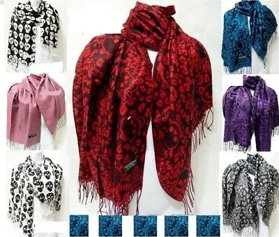 Skull Rose Leopard Print Blue Red White Gray Pink Black Purple Pashmina Scarf