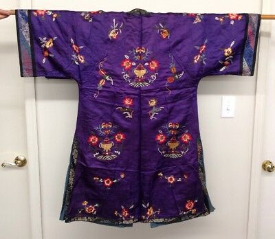 Antique CHINESE Silk Court Robe Purple Bats Vases TEXTILE