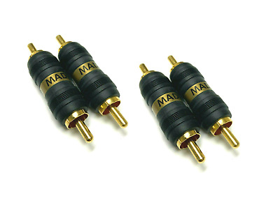 NEW 4 Pieces Straight AV GOLD RCA Male to Male Connectors Couplers Adapters USA