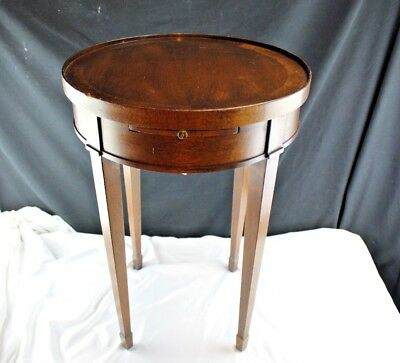 Vintage Brandt Penwood Mahogany Side Table Round with Pull Out Shelf-Sheraton/He
