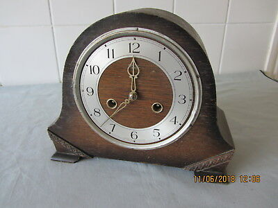 Vintage Smiths Enfield Wooden Mantle Clock. Spares or Repair