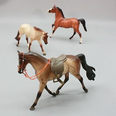 Lot of 3 Breyer Reeves Collectible Plastic Grazing Stallion Saddle Horses