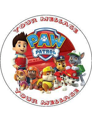 """Paw Patrol 7.5"""" Round Personalised Message Birthday Cake Topper"""