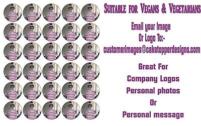 YOUR PERSONALISED PHOTO / LOGO Wafer Paper CupcakeToppers 30 x 38mm MAX 2 IMAGES