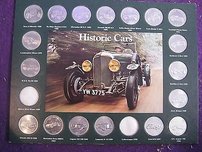 Shell Historic Cars Coin Collection Official Shell Board With 18 coins tokens