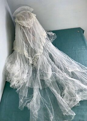 Vintage Lace Tulle Wedding Bridal Veil Fine Soft 40s Head piece with Pearls