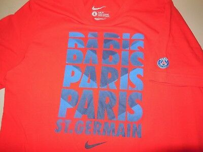 066cb30da18 NIKE PSG PARIS Saint Germain Soccer T Shirt Red Cotton Team Athletic Mans  Slim L