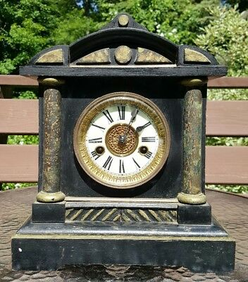 Antique HAC German Mantel Clock 7067 Label Wooden Hamburg American Junghans VTG