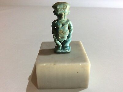Egyptian Faience Amulet of Bes from the Ptolemaic period - On A Marble Base