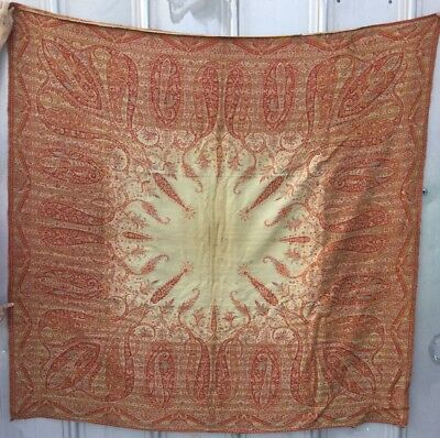 LARGE SQUARE ANTIQUE Indian Or Persian TEXTILE PAISLEY SHAWL CREAM CENTER