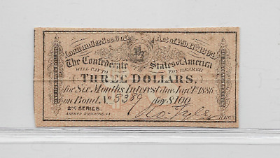 "$3 (Confederate Note) ""rare"" 1800's $3(Actual Autographs)$3 (Confederate)Bond#2"