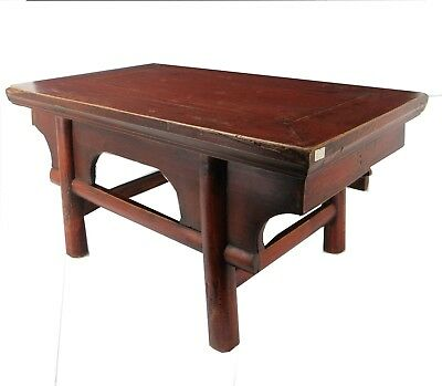 Chinese Beautiful Antique Style Red Solid Chinese Kang Table Coffee Tea Table
