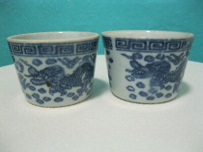 Vintage/antique Small Pair Blue And White Chinese Pots/bowls, Dragon Design.