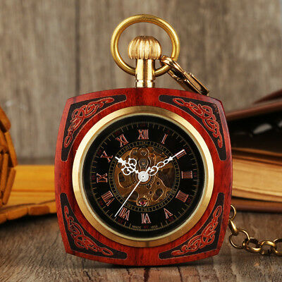 Antique Steampunk Pocket Watch Mechanical Hand-winding Square Wood Dial Chain