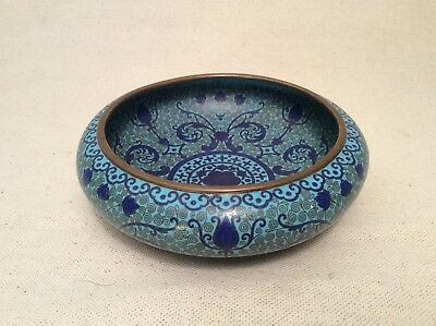 Finely Crafted Turquoise And Ultramarine Cloisonné Enamel Bowl with Spiral Motif