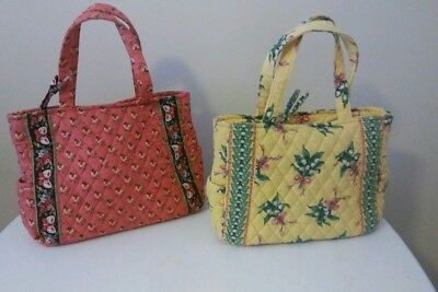 Lot 2 Vera Bradley Small Hand Bags Purses Retired Hope Pink Pansy Patterns  -EUC