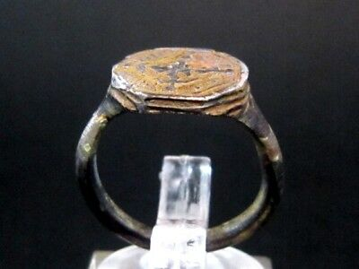 Luxurious Silver Medieval Crusader Ring, Nice Cross On Top+++